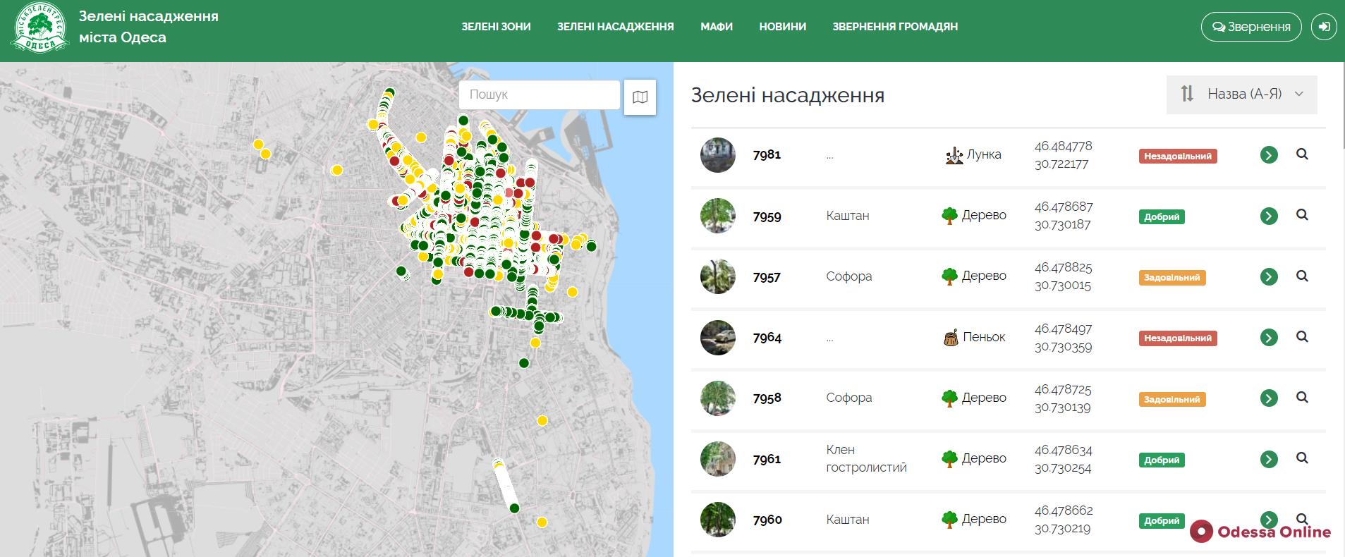 В интерактивную карту зеленых насаждений Одессы за год внесли более шести тысяч деревьев (видео)