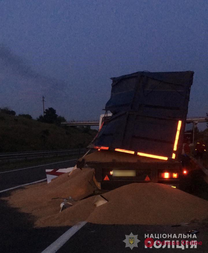 На трассе Одесса—Киев пассажирский автобус врезался в припаркованный зерновоз – один человек погиб, четверо в больнице